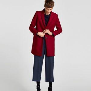 Zara NWT masculine coat, deep red.